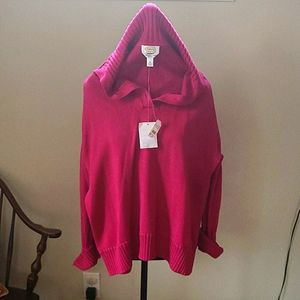 Fuchsia cotton button collar pullover